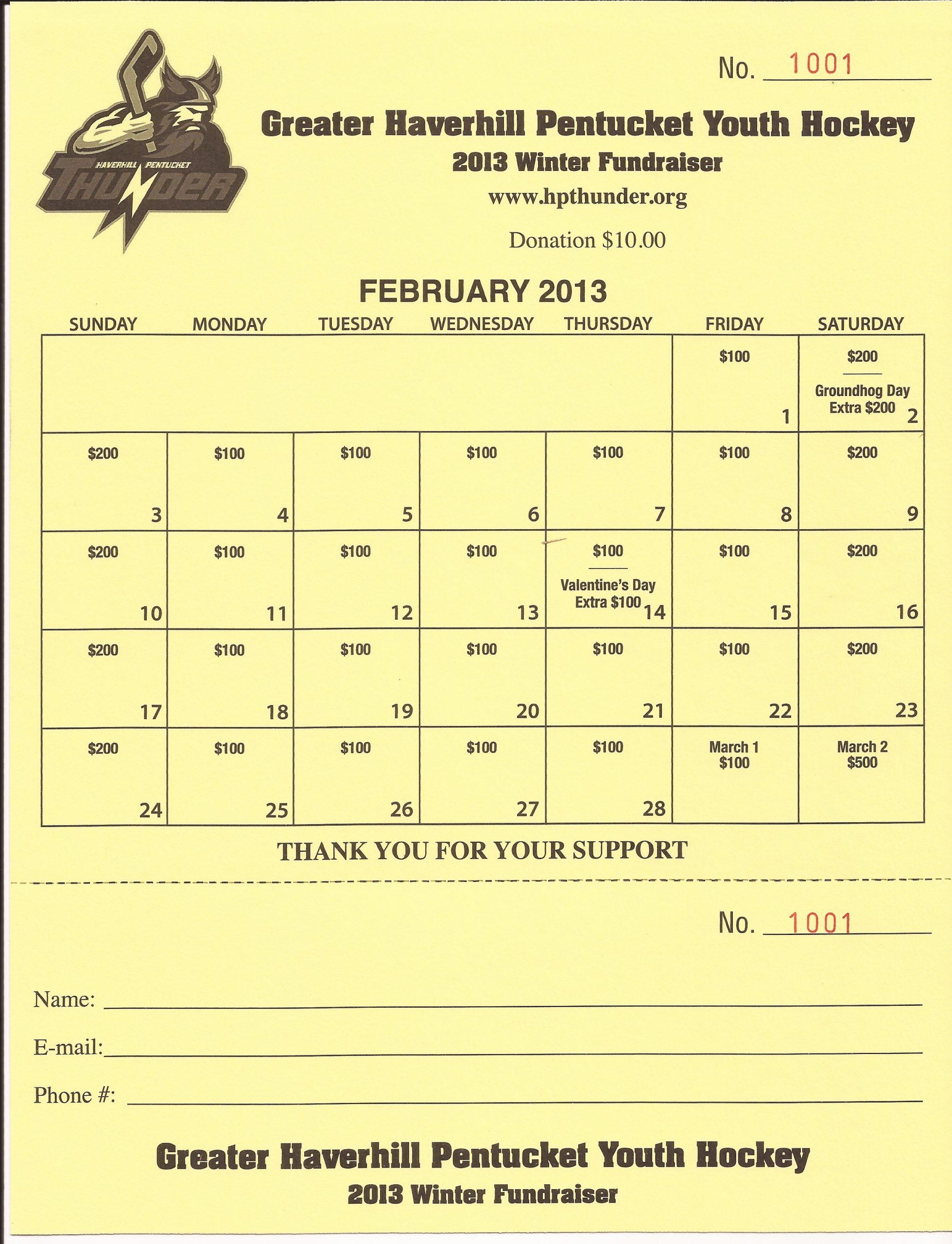 Calendar Fundraiser | Greater Haverhill Pentucket Youth Hockey