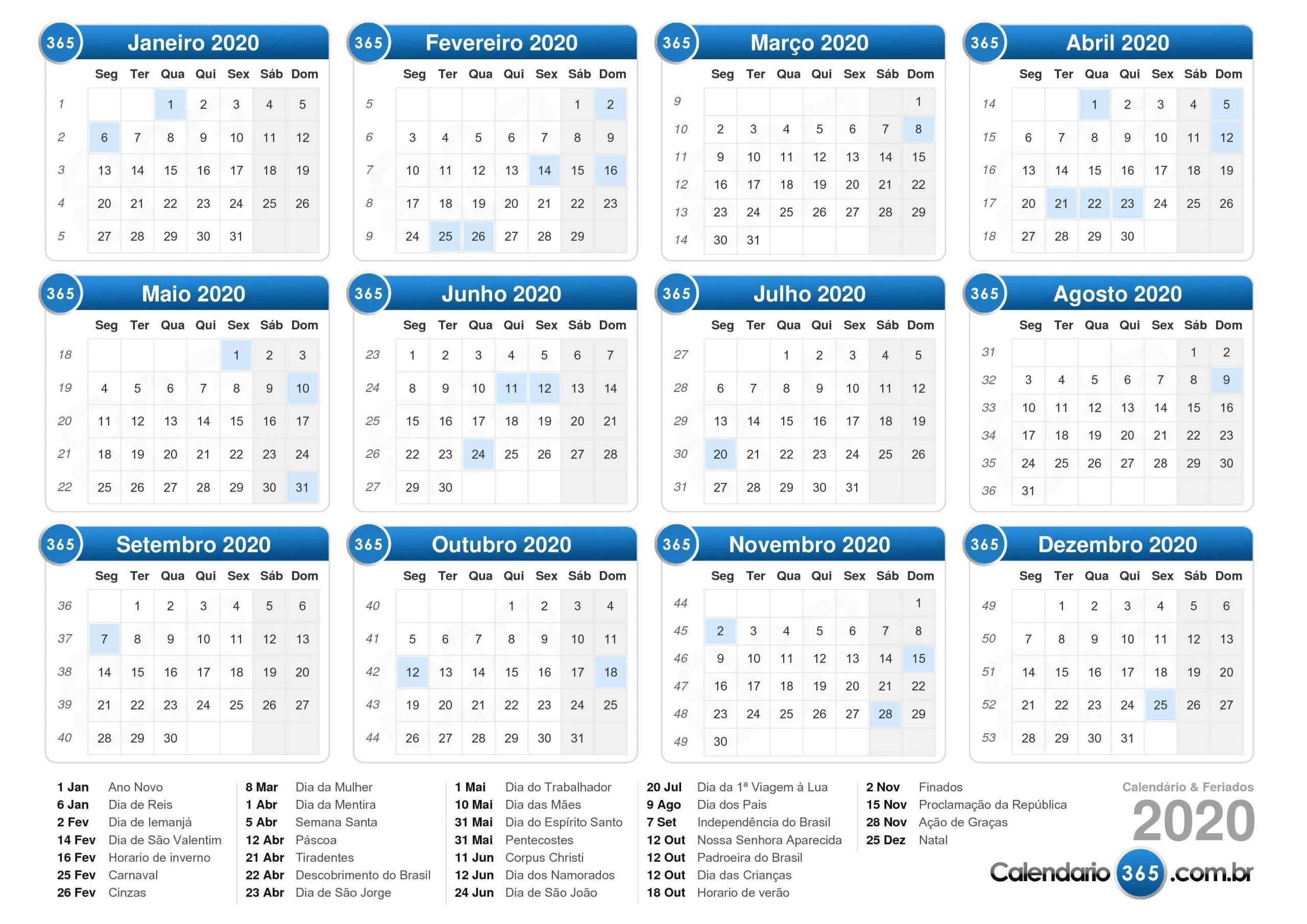 Calendário 2020 | Calendário Gratuito Para Impressão