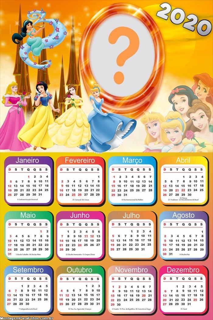 Calendário 2020 Das Princesas Disney Moldura | Colagem De Foto