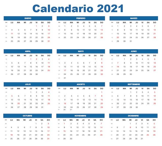 Calendario 2021 De Colombia | Festivos 2021
