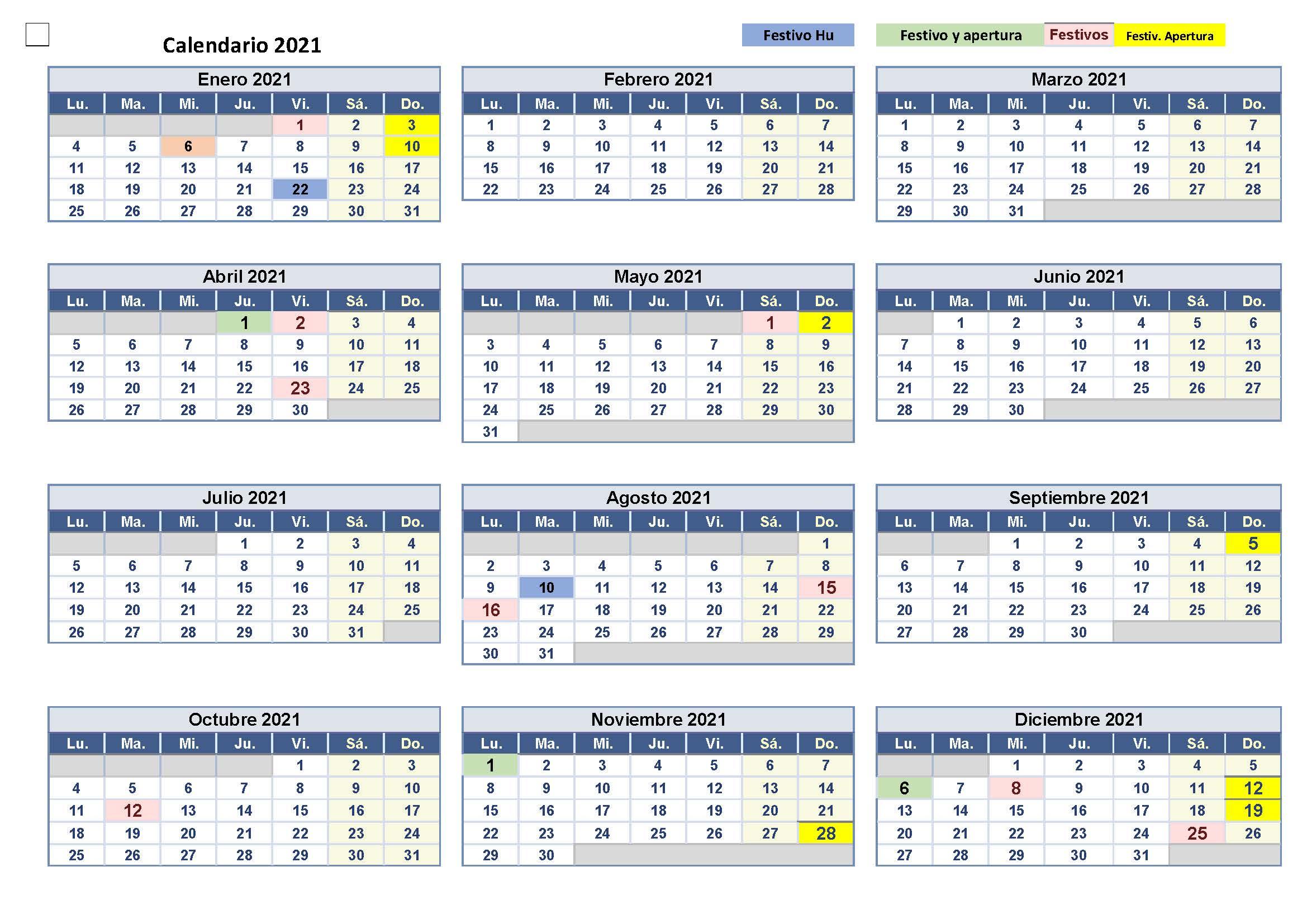 Calendario 2021- Festivos, Festivos Apertura Y Fiestas