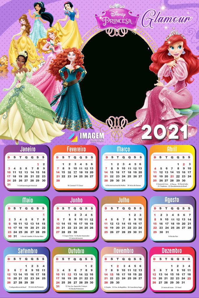 Calendário 2021 Png Infantil Para Foto Montagem | Imagem