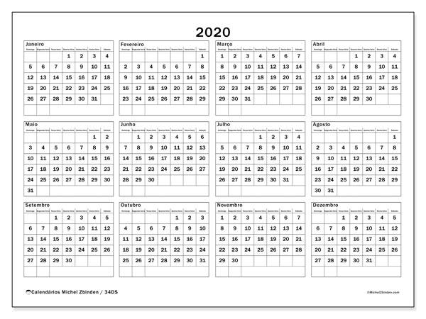 Calendário Anual 2020 - 34Ds - Michel Zbinden Pt