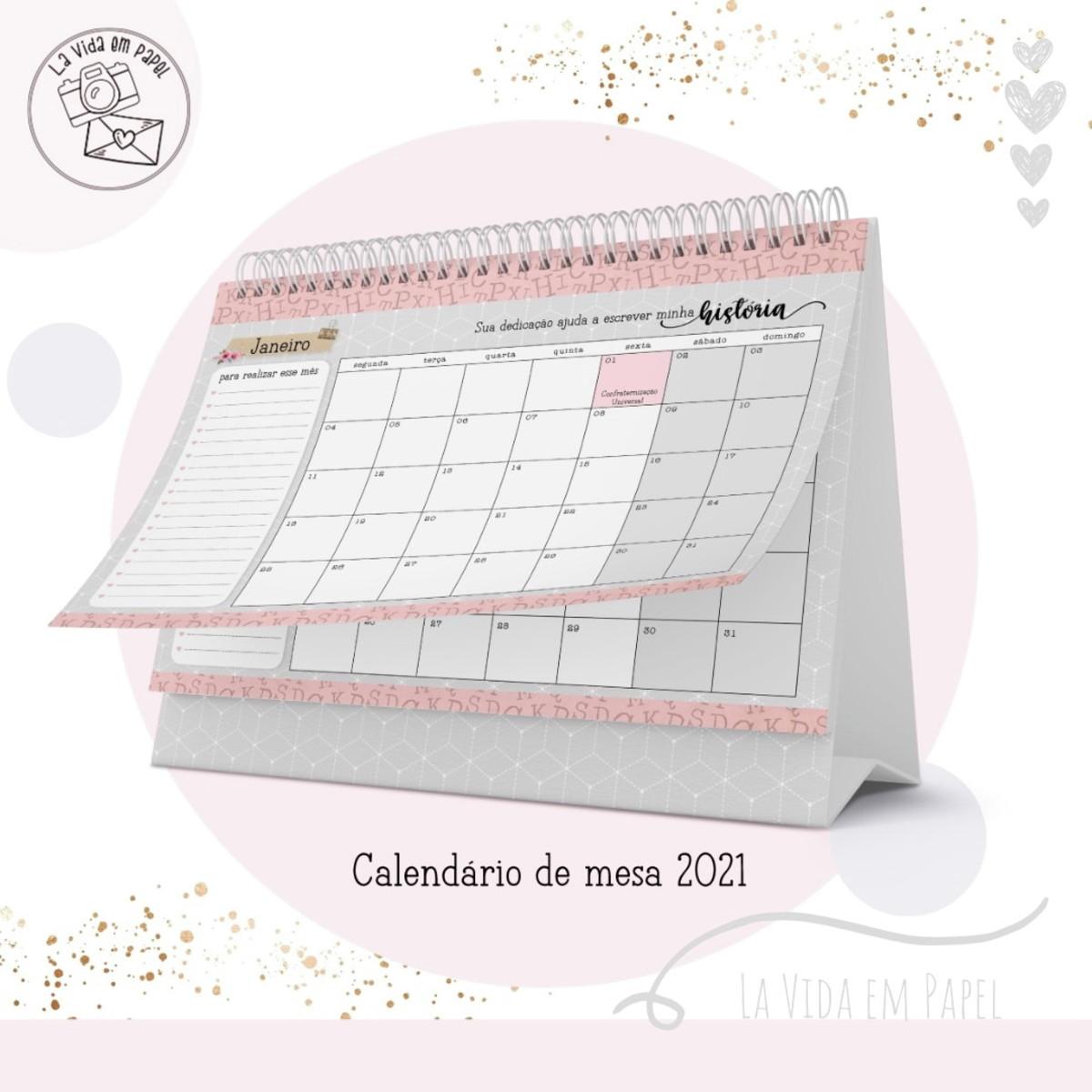Calendário De Mesa 2021 Professora No Elo7 | Lá Vida Em
