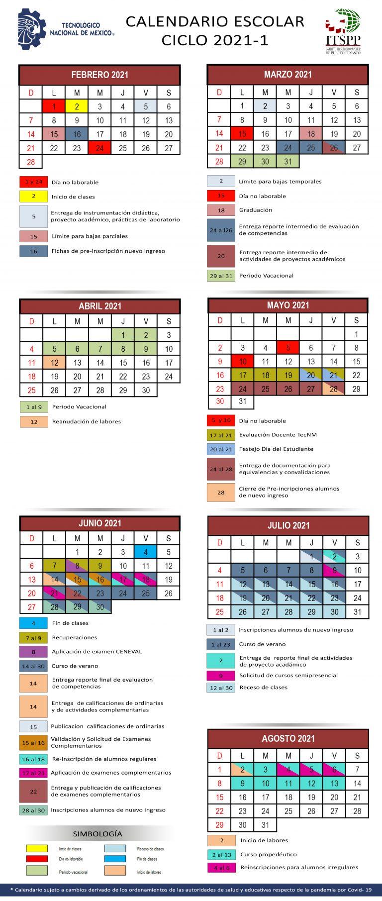 Calendario Escolar Ciclo Escolar 2021-1