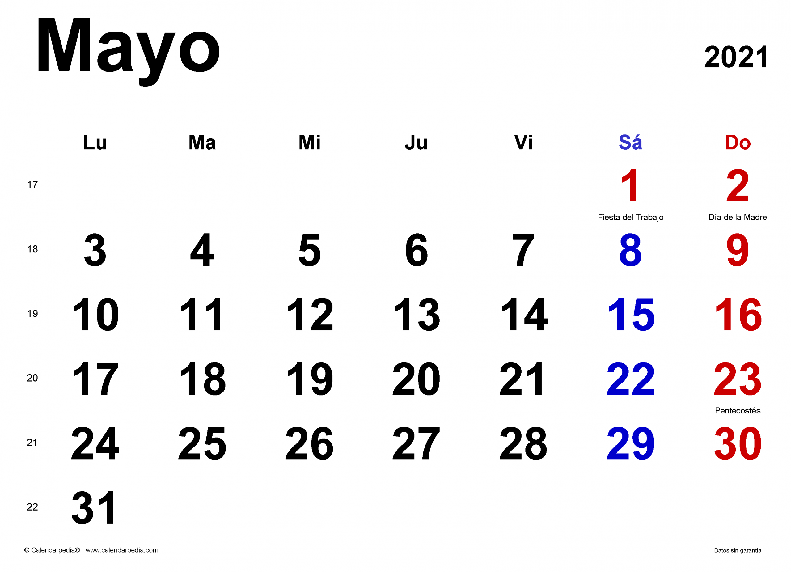 Calendario Mayo 2021 - Calendarpedia