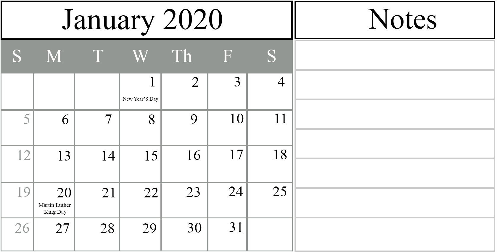 Catch Editable Calendar 2020 Free Space To Write
