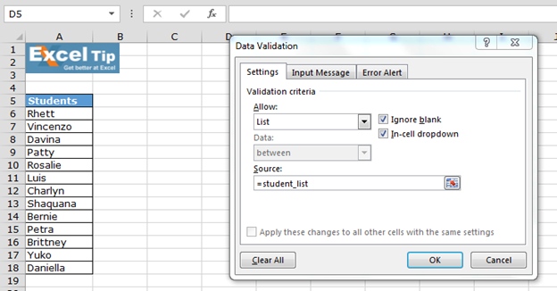 Create Drop Down Lists In Excel Using Data Validation