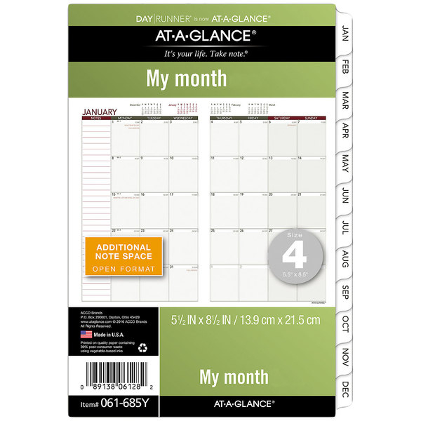 """Day Runner 061685Y 5 1/2"""" X 8 1/2"""" Monthly Planning Pages"""