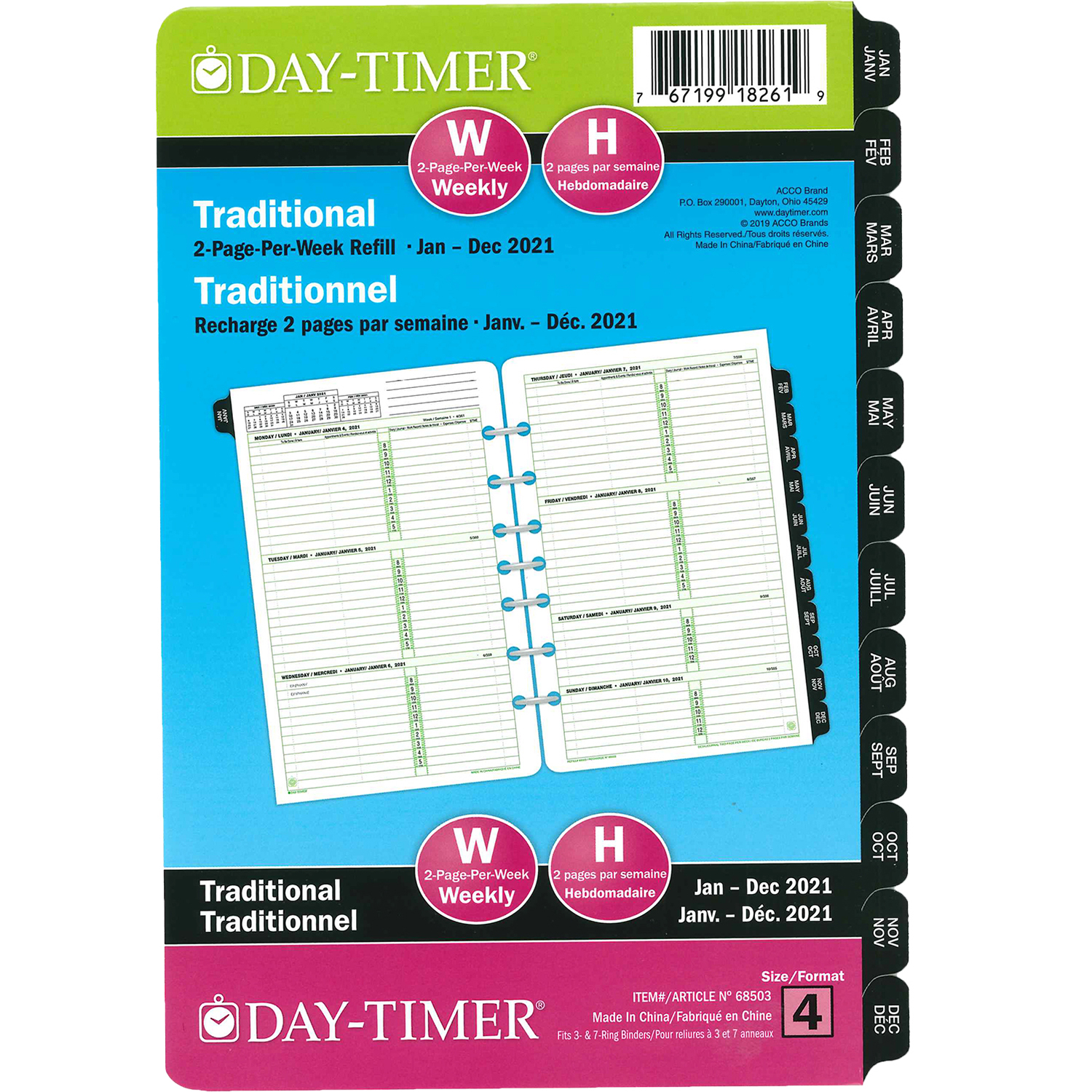 """Day-Timer 12-Month Weekly Planner Refill, 8 1/2"""" X 5 1/2"""
