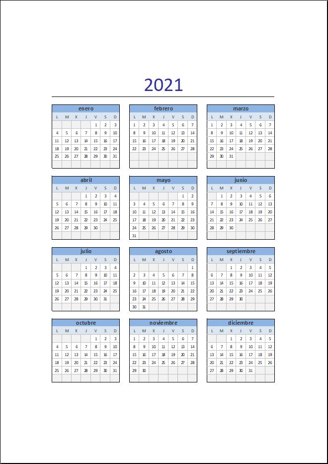 Descarga El Calendario 2021 En Excel • Excel Total