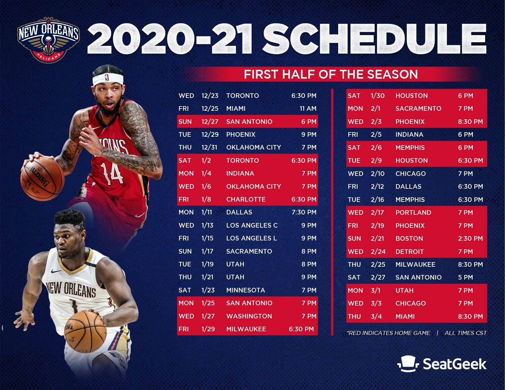 Download A Printable Pelicans 2020-21 Schedule