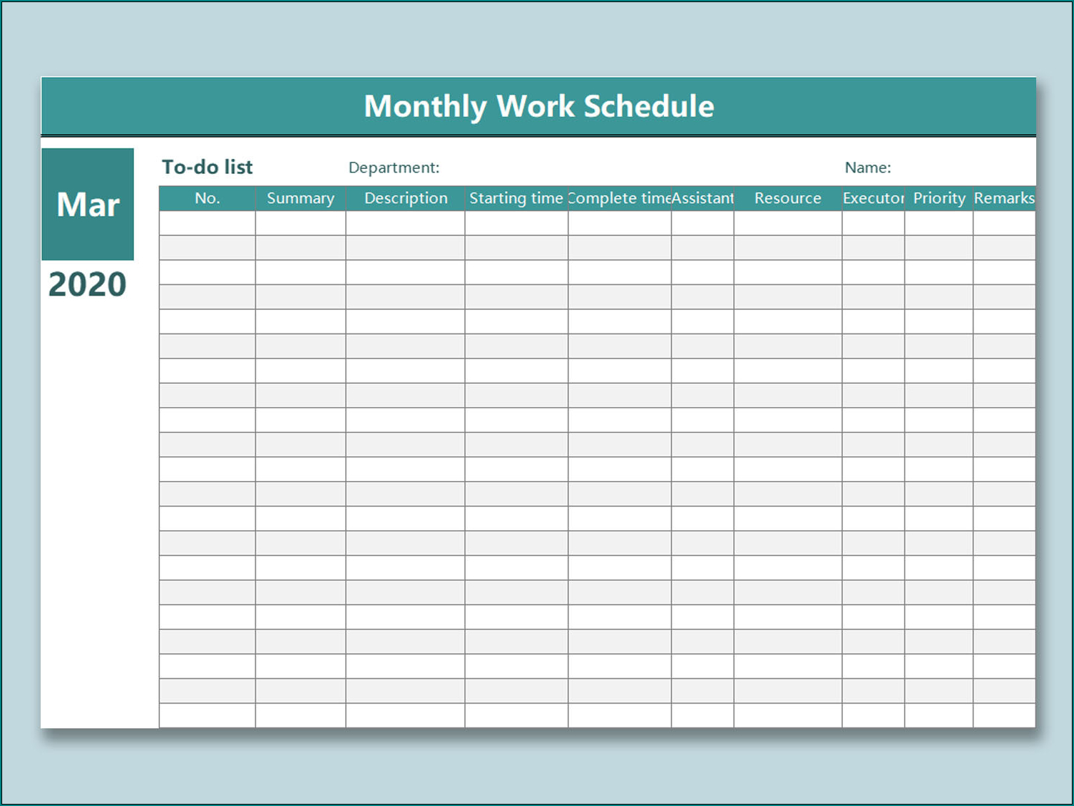 》Free Printable Monthly Schedule Template | Bogiolo