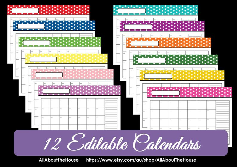 Editable 12 Polka Dot Calendars You Choose 2015 2016 And