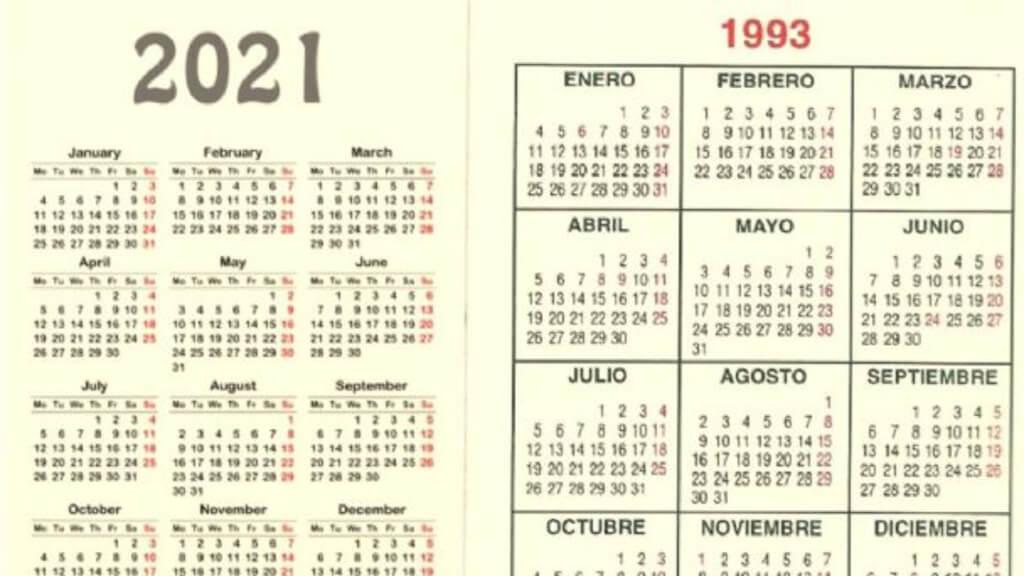 El Calendario De 2021 Coincide Con El De 1993 Y Esto Solo