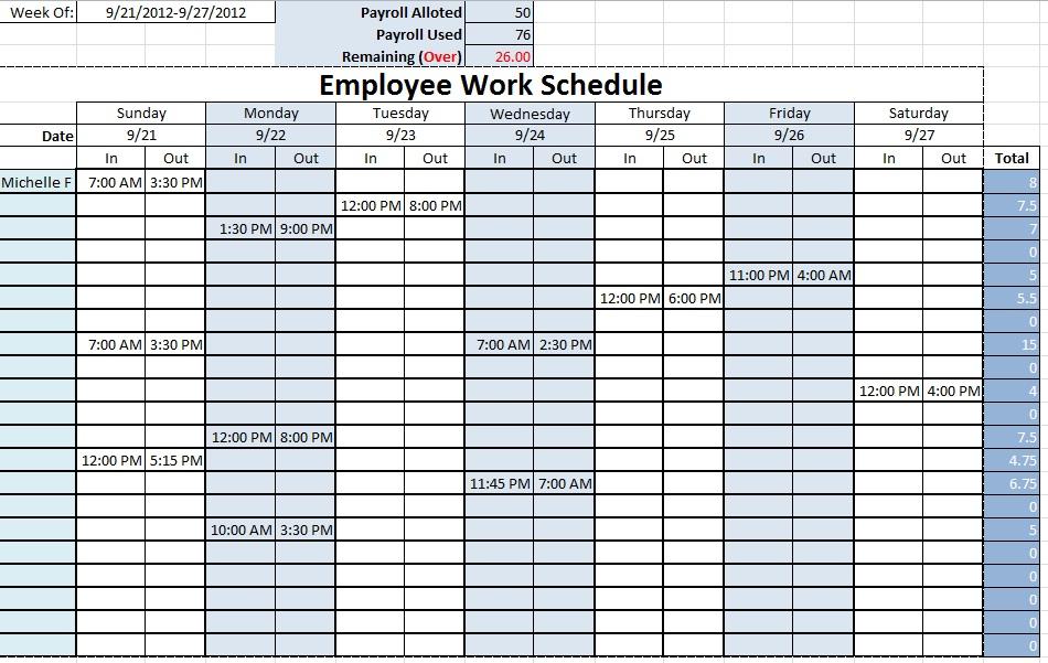 Employee Work Schedule ~ Template Sample