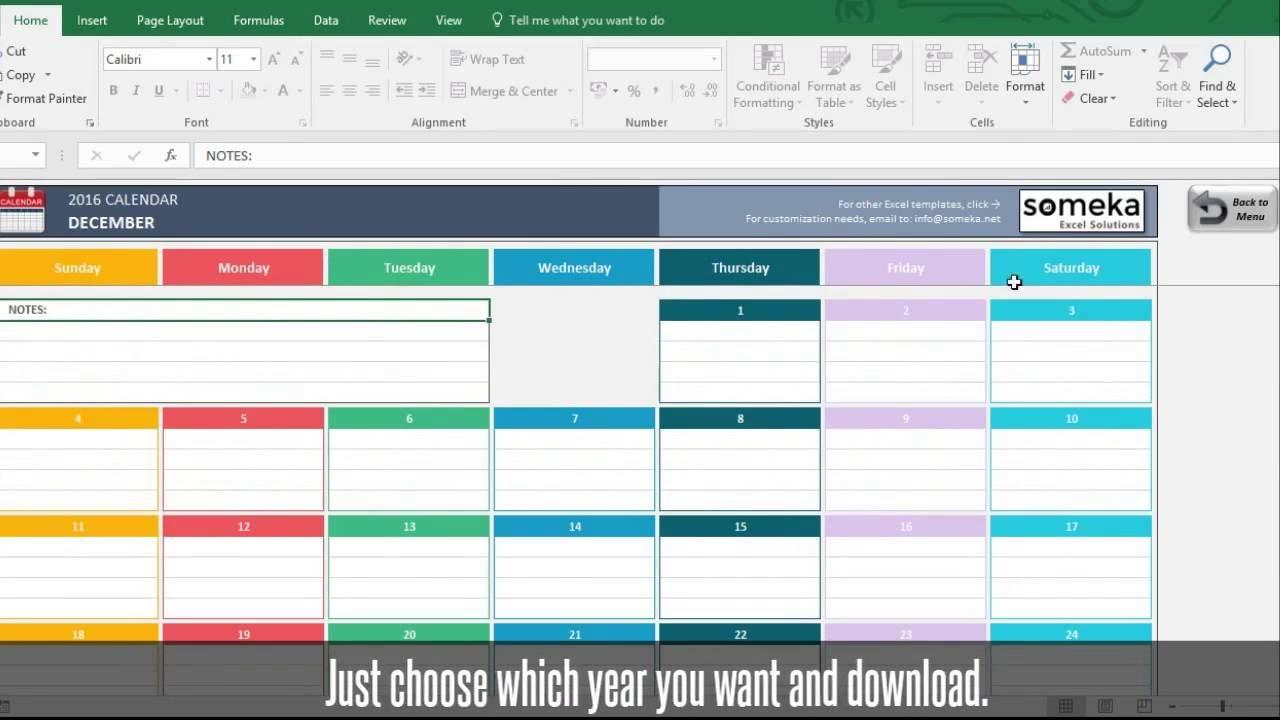 Excel Calendar Template 2019 | Free Download Excel