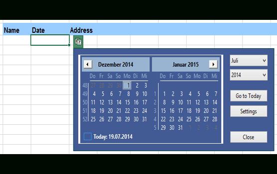 Excel Date Picker, A Pop-Up Calendar For Excel