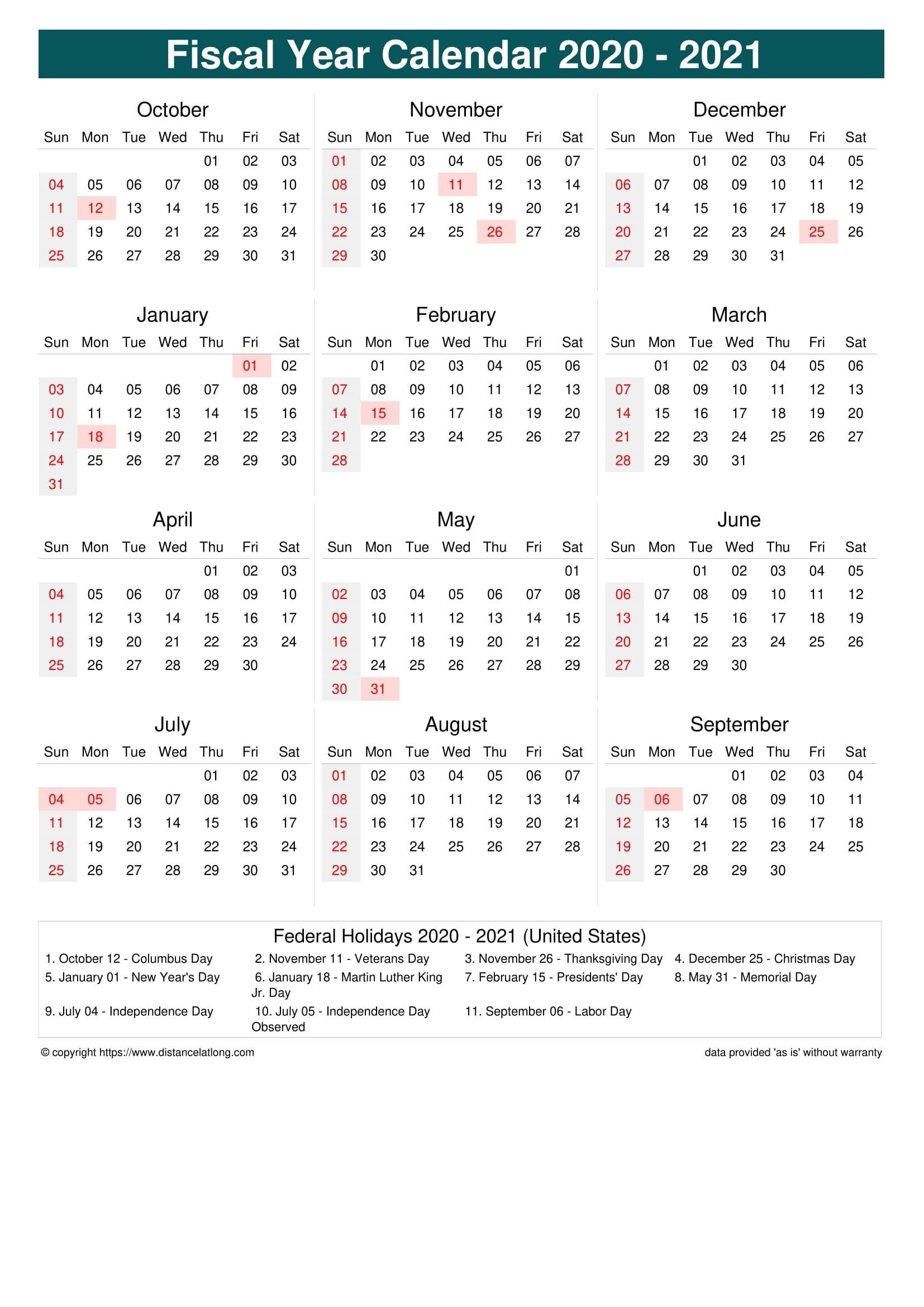 Fiscal Year Australia 2021 - Template Calendar Design