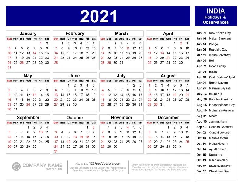 Free 2021 Calendar With Indian Holidays Pdf   Calendar