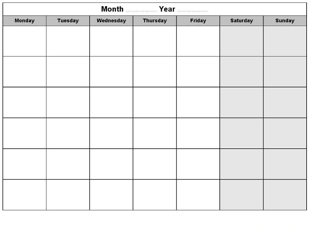 Free Calendars Monday Thru Sunday Image | Calendar