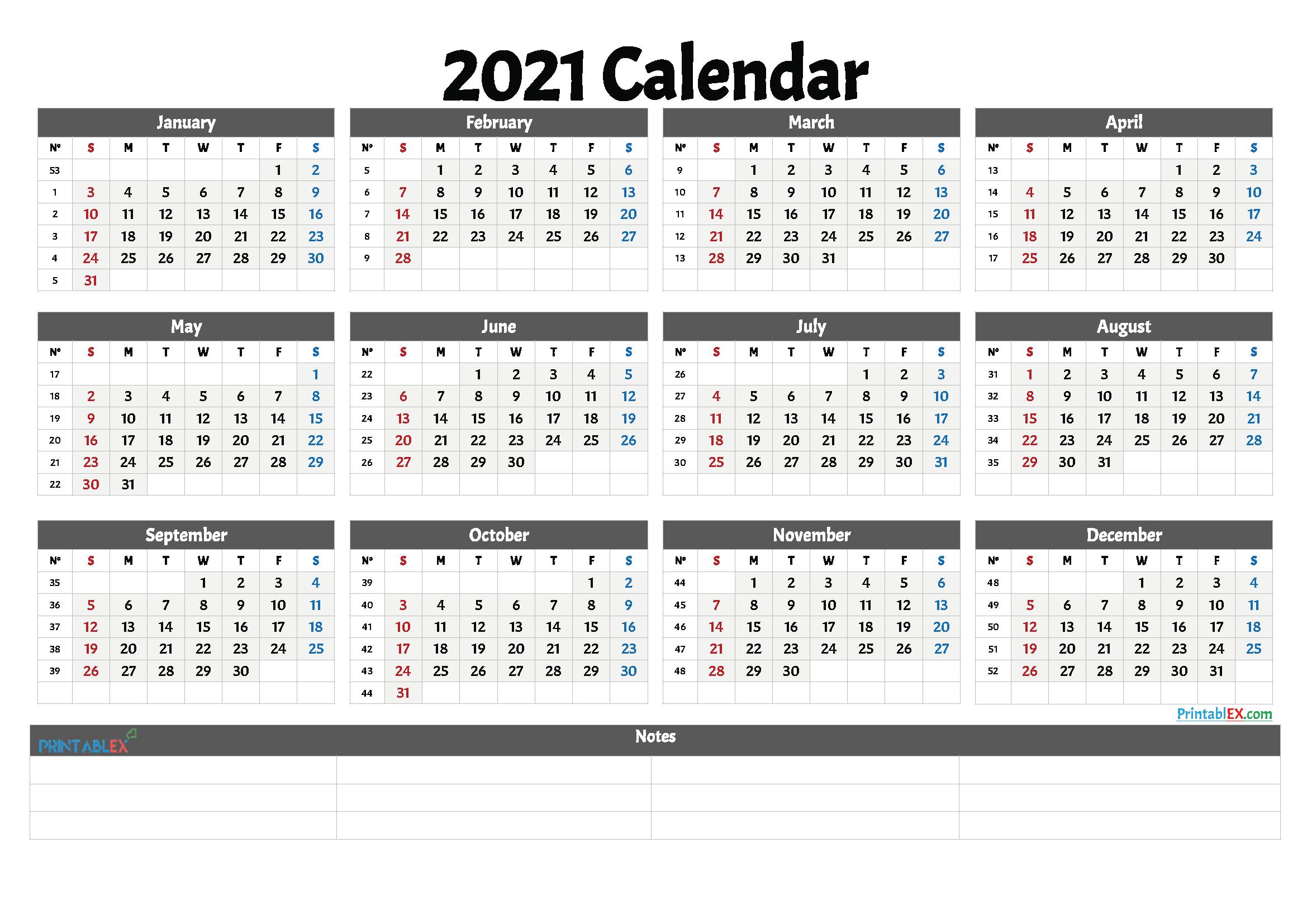Free Printable 2021 And 2021 Calendar | 2021 Printable