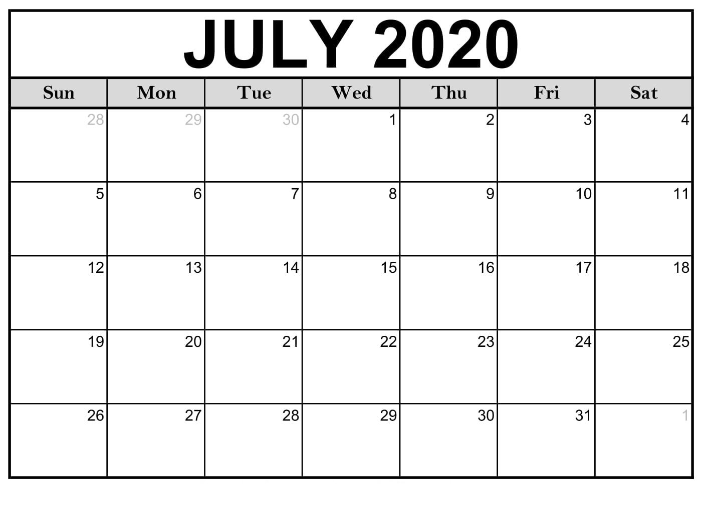 Free Printable July 2020 Calendar Template In Editable Format