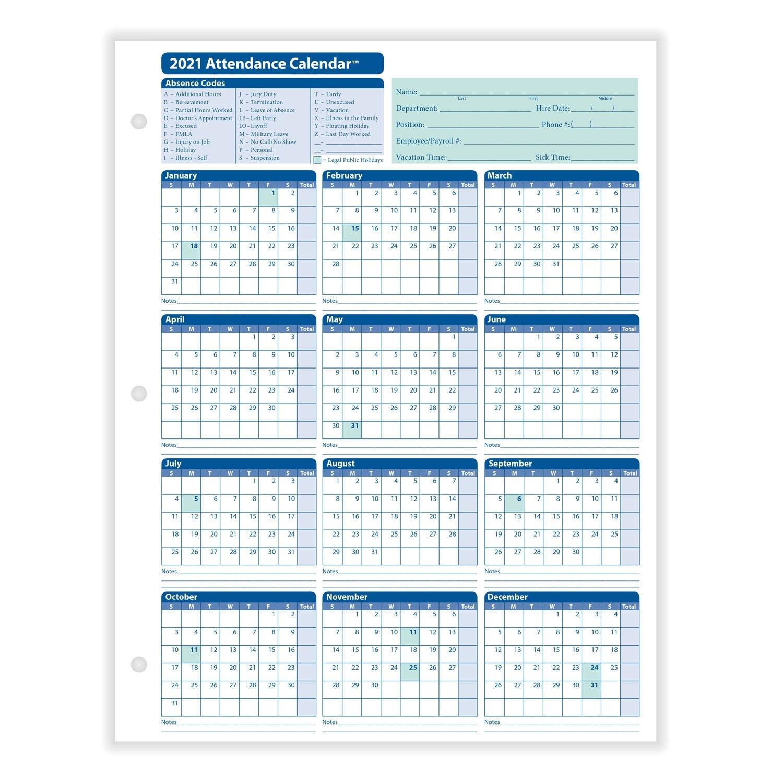 Get 2021 Employee Attendance Calendar   Best Calendar Example