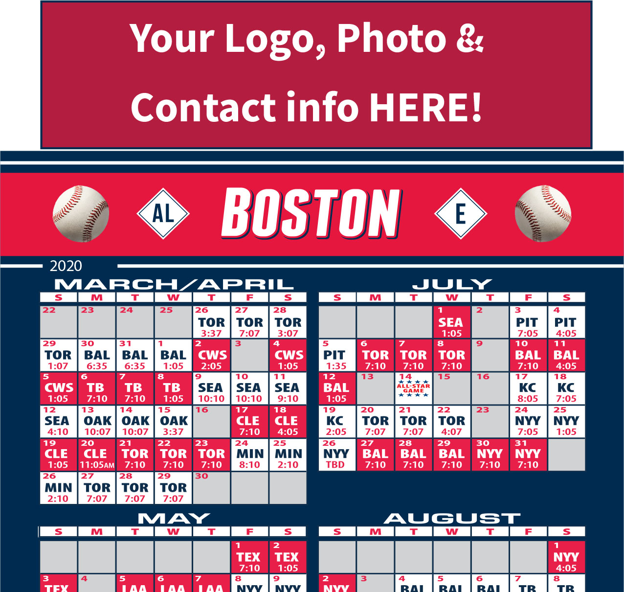 Get Months Of Advertising W/Boston Baseball Schedule Magnets!