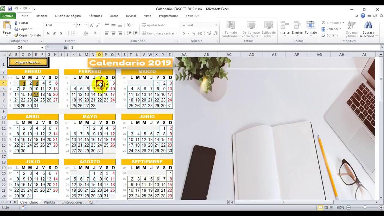 Gratis Nuevo Calendario Excel 2019 Muy Práctico Con Agenda