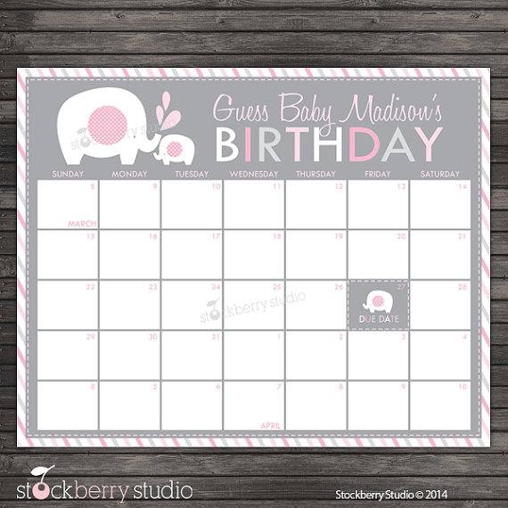 Guess Baby Due Date Template :-Free Calendar Template