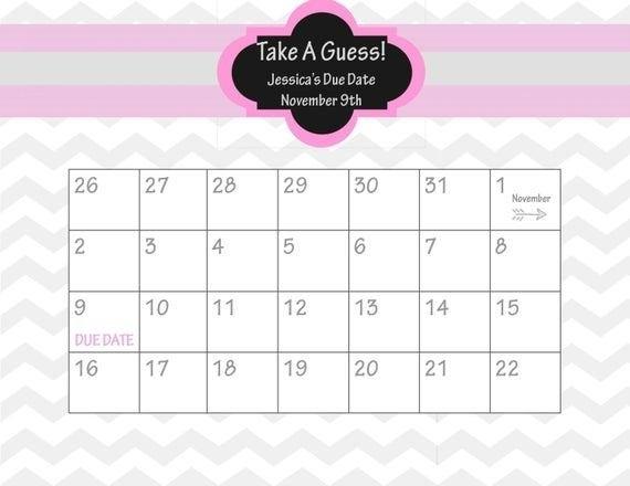 Guess The Due Date Calendar Template Image | Calendar