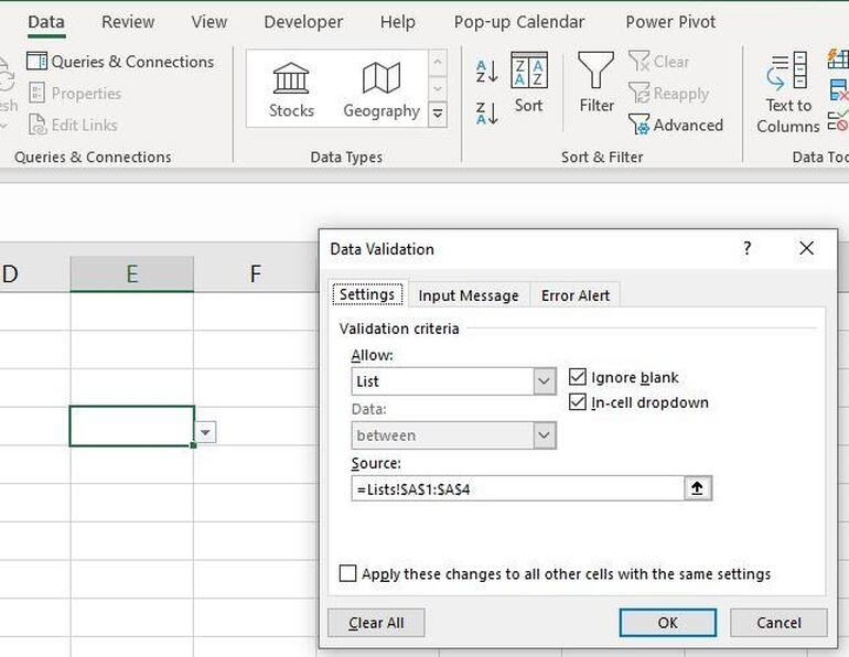 How To Create An Excel Drop Down List From Another Tab
