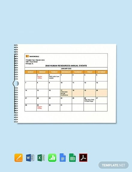 Human Resources Annual Calendar Photo | Calendar Template 2020