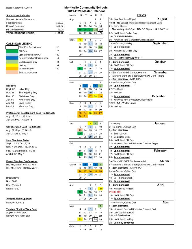 Human Resources Calendars