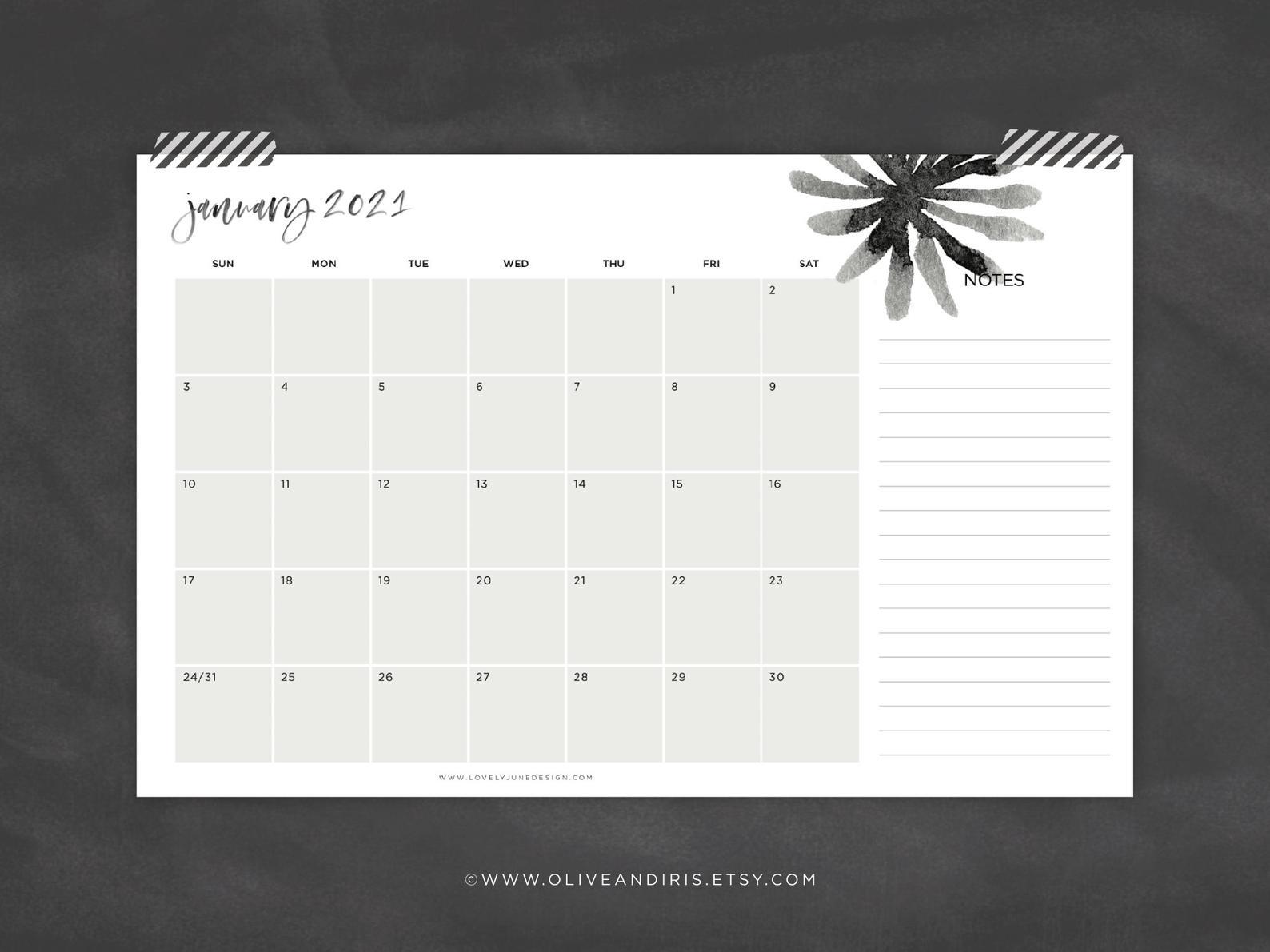 Large 11X17 Printable 2021 Calendar / Minimal Blank