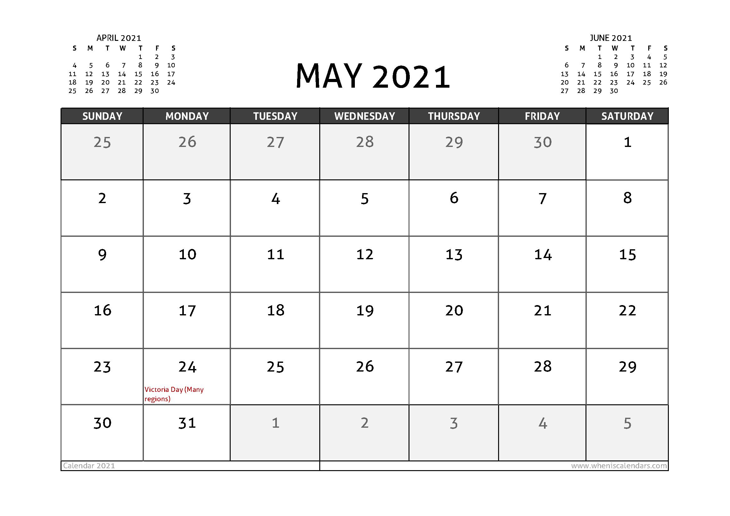 May 2021 Printable Calendar Canada | Free Printable Calendar