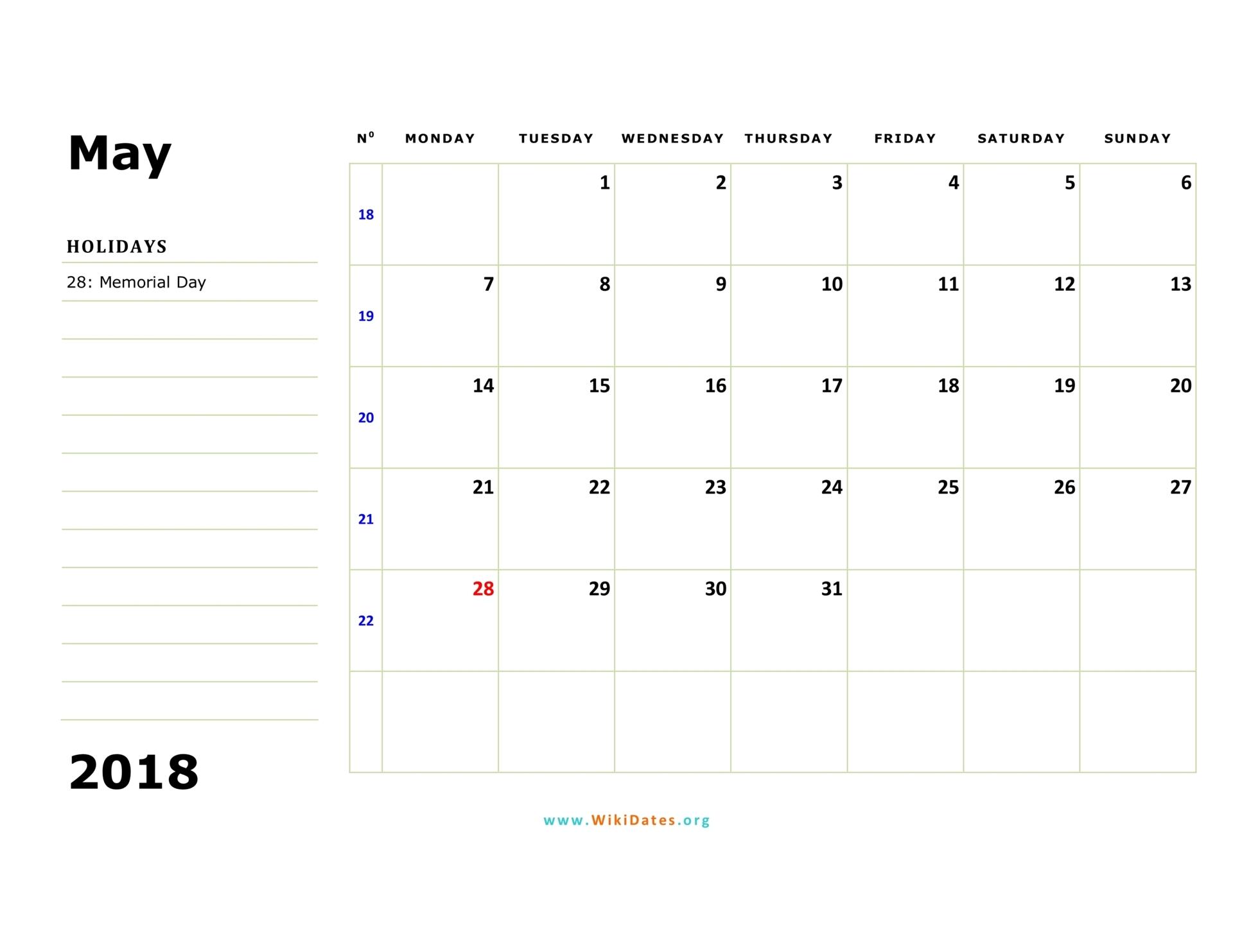 Monday Sunday Printable Calendar - Printall
