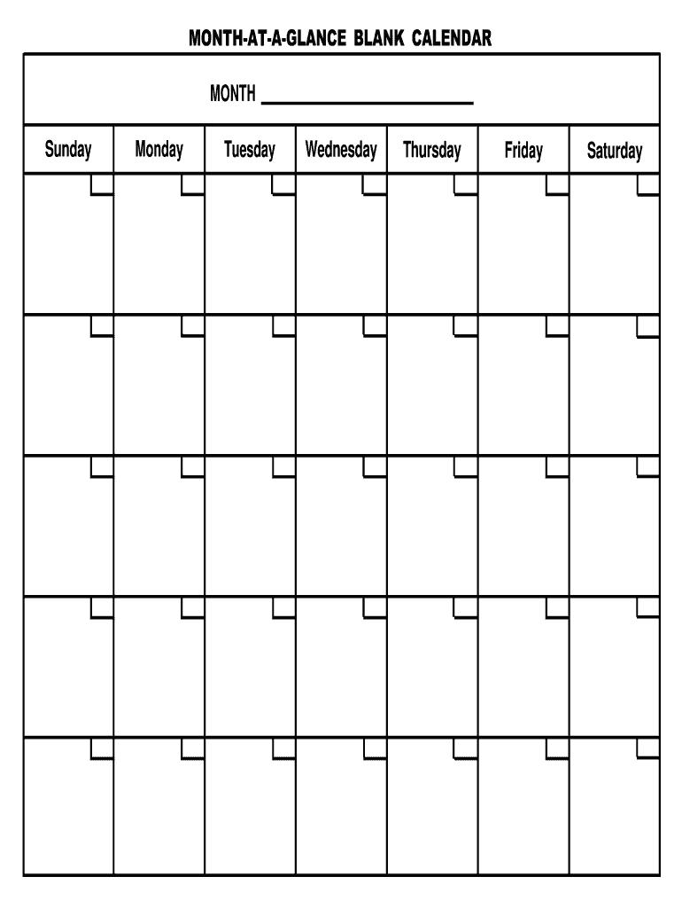 Month At A Glance Template - Fill Out And Sign Printable