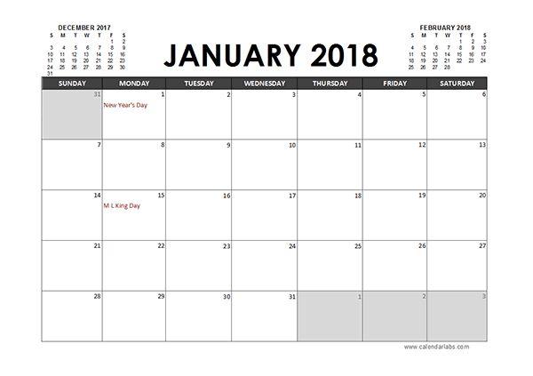 Monthly 2018 Excel Calendar Planner | Excel Calendar