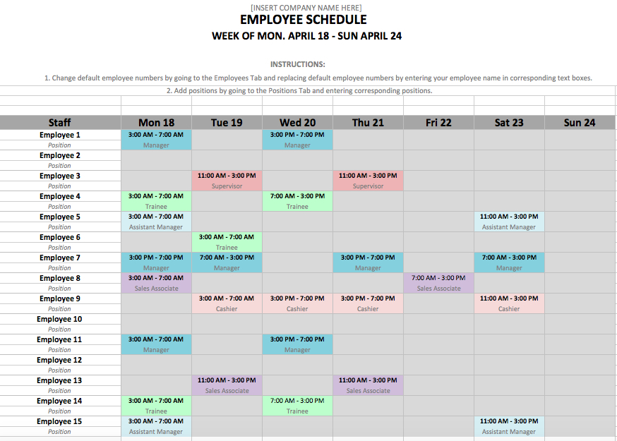 Monthly Employee Schedule Template Excel | Shatterlion