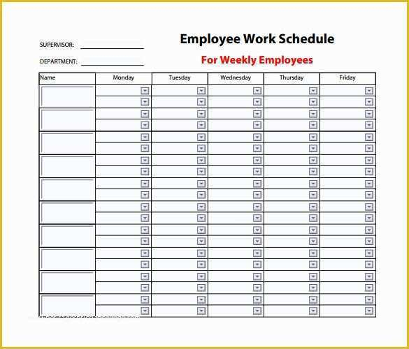 Monthly Employee Schedule Template Free Of 9 Weekly Work