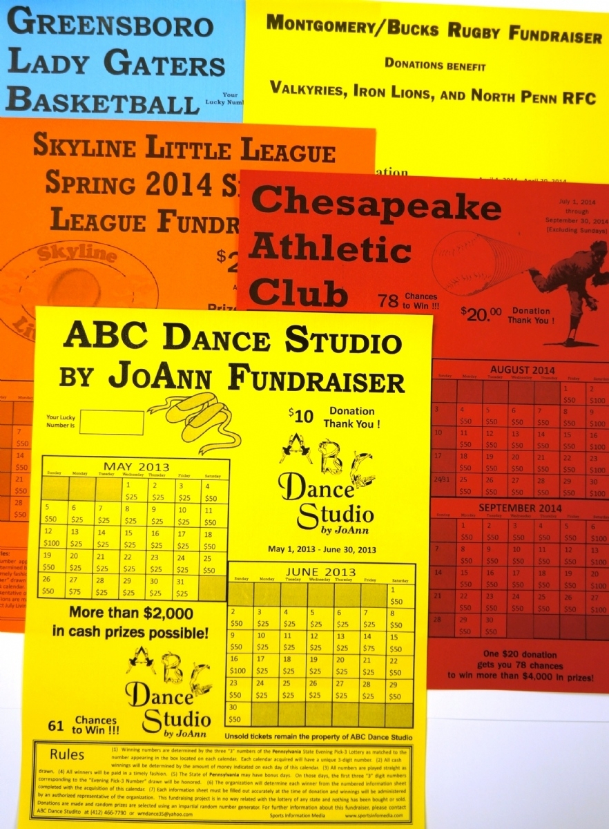 Monthly Lottery Calendar Fundraiser • Printable Blank