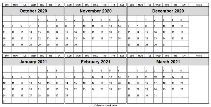 October 2020 To March 2021 Calendar Template - Blank