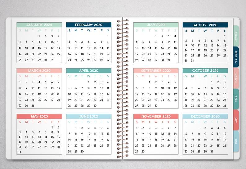 Planificador Mensual 2021 Con Tabs / Calendario De 12