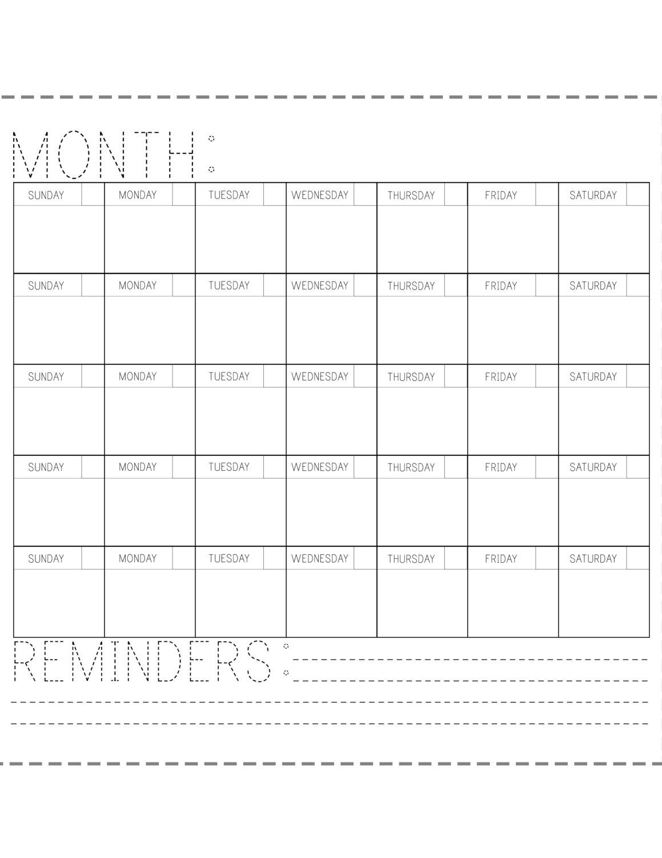 Printable Calendar Fill In The Blank