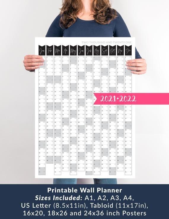 Printable Wall Calendar 2021 Wall Planner 2021 Printable