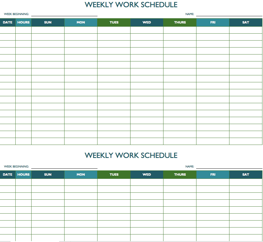 Printable Weekly And Biweekly Schedule Templates For Excel