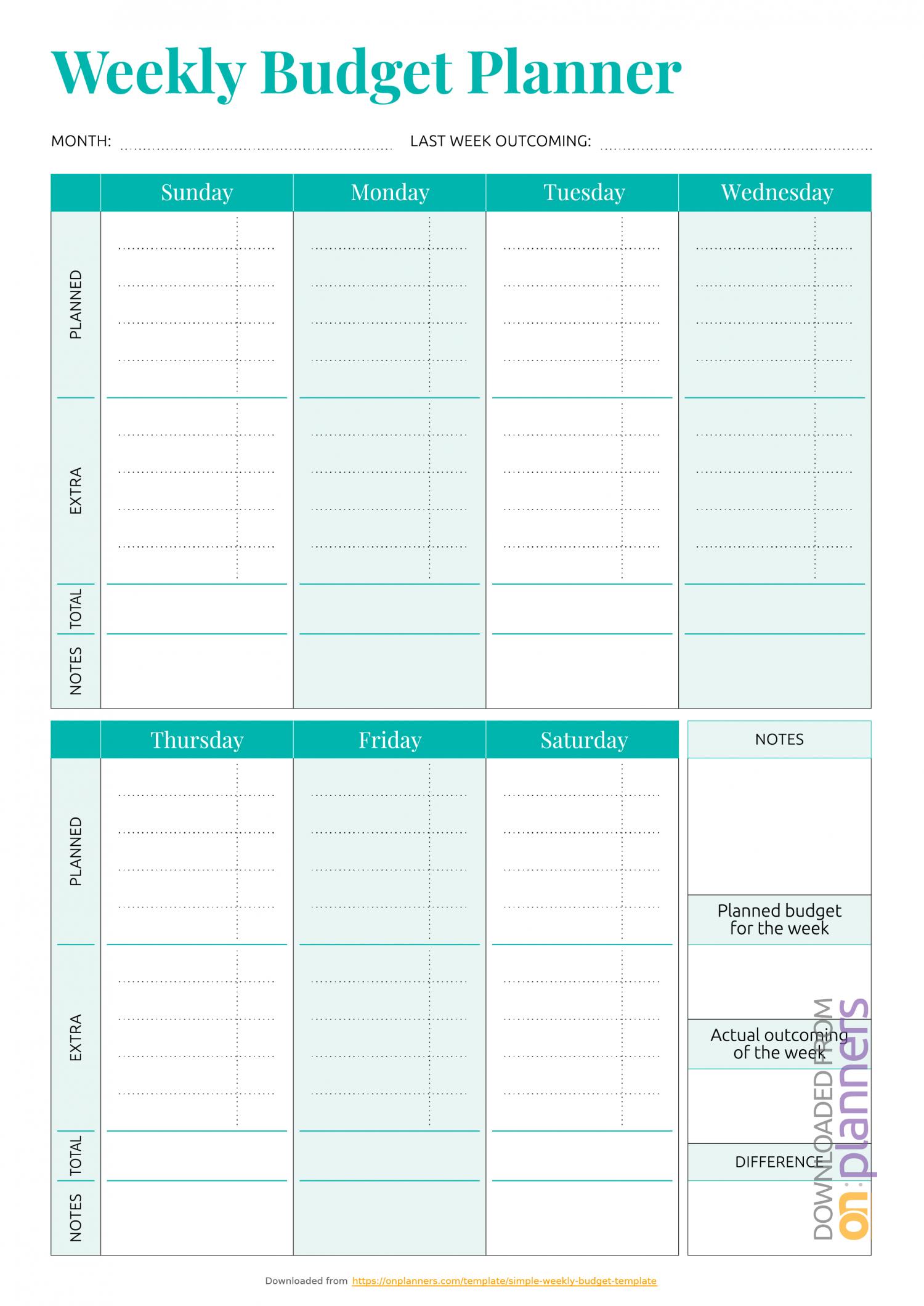 Printable Weekly Bill Planner   Example Calendar Printable