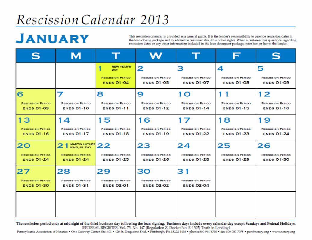 Rescission Calendar | Exam Calendar